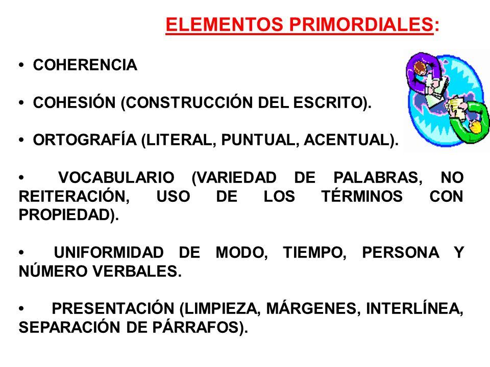 ELEMENTOS PRIMORDIALES: COHERENCIA COHESIÓN (CONSTRUCCIÓN DEL ESCRITO). ORTOGRAFÍA (LITERAL, PUNTUAL, ACENTUAL). VOCABULARIO (VARIEDAD DE PALABRAS, NO