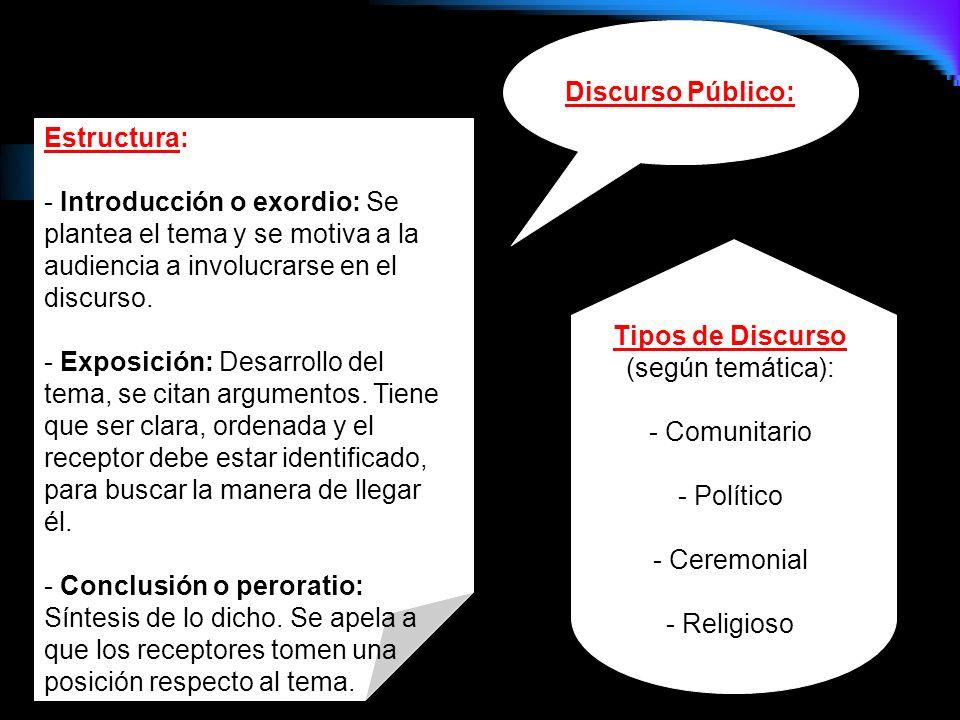 Su función es entregar información acerca de un tema, para incrementar el conocimiento del receptor o auditorio. Discurso Expositivo: