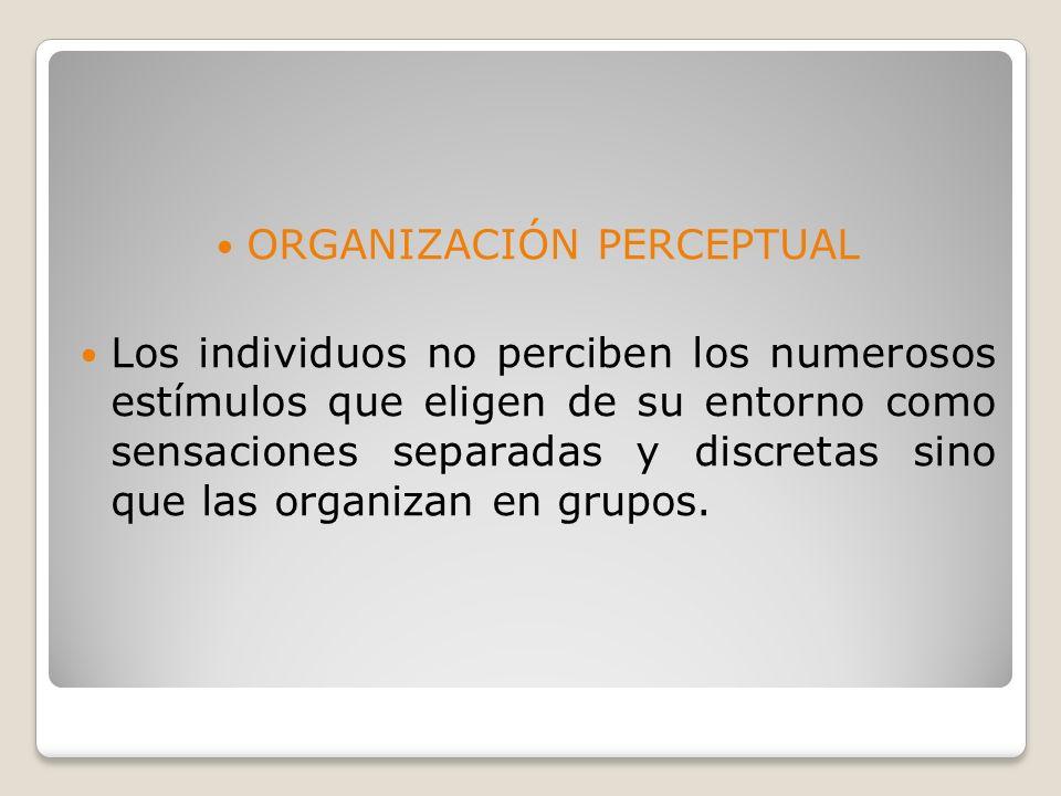 La percepción selectiva se divide en 4: EXPOSICION SELECTIVA ATENCION SELECTIVA DEFENSA PERCEPTUAL BLOQUEO PERCEPTUAL