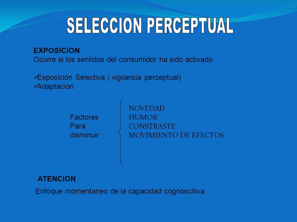 EXPOSICION Ocurre si los sentidos del consumidor ha sido activado Exposición Selectiva ( vigilancia perceptual) Adaptacion ATENCION Factores Para dism