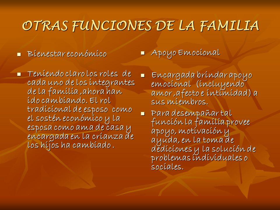 OTRAS FUNCIONES DE LA FAMILIA Bienestar económico Bienestar económico Teniendo claro los roles de cada uno de los integrantes de la familia,ahora han