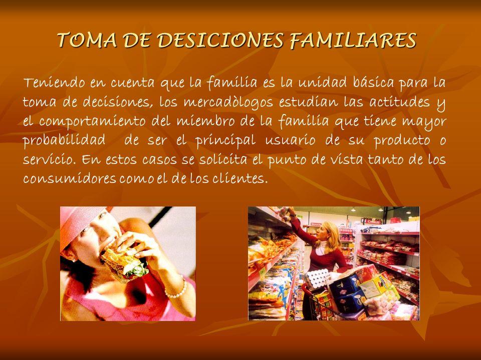 TOMA DE DESICIONES FAMILIARES Teniendo en cuenta que la familia es la unidad básica para la toma de decisiones, los mercadòlogos estudian las actitude