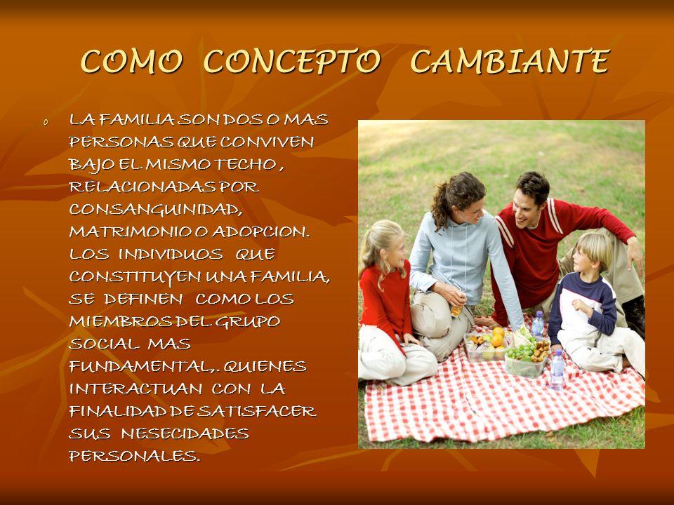 COMO CONCEPTO CAMBIANTE COMO CONCEPTO CAMBIANTE o LA FAMILIA SON DOS O MAS PERSONAS QUE CONVIVEN BAJO EL MISMO TECHO, RELACIONADAS POR CONSANGUINIDAD,