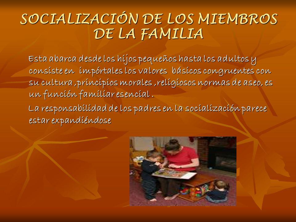SOCIALIZACIÓN DE LOS MIEMBROS DE LA FAMILIA Esta abarca desde los hijos pequeños hasta los adultos y consiste en impórtales los valores básicos congru