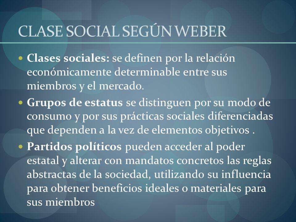 CLASE SOCIAL SEGÚN WEBER Clases sociales: se definen por la relación económicamente determinable entre sus miembros y el mercado. Grupos de estatus se
