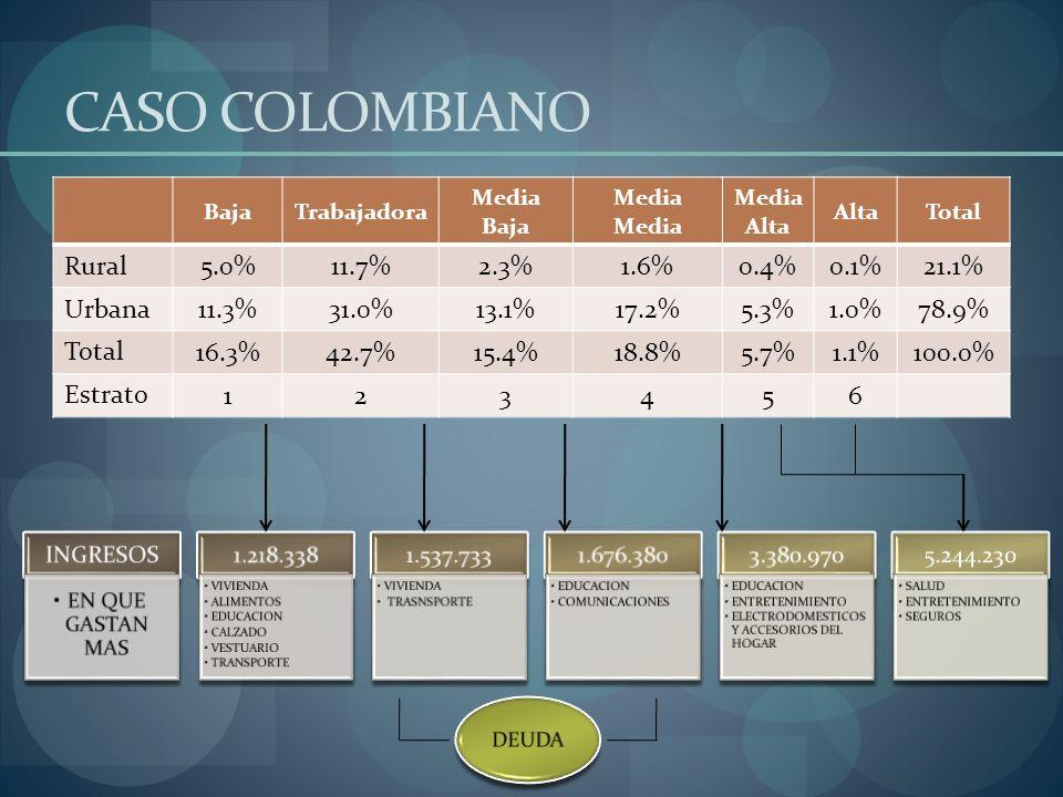 CASO COLOMBIANO BajaTrabajadora Media BajaMedia Media Alta AltaTotal Rural 5.0%11.7%2.3%1.6%0.4%0.1%21.1% Urbana 11.3%31.0%13.1%17.2%5.3%1.0%78.9% Tot