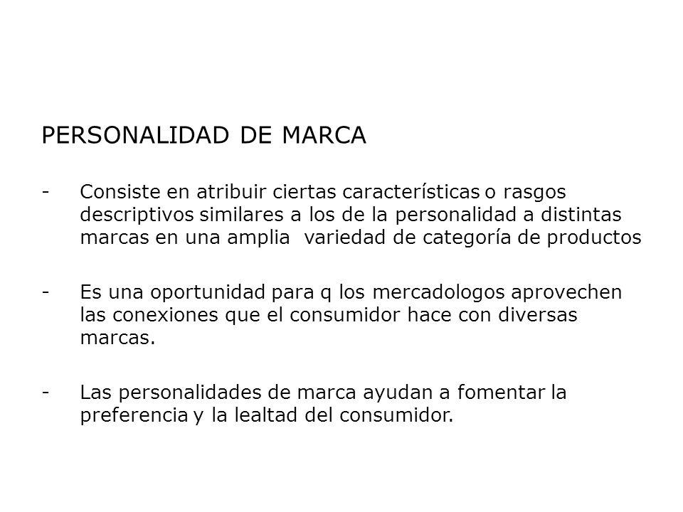 PERSONALIDAD DE MARCA -Consiste en atribuir ciertas características o rasgos descriptivos similares a los de la personalidad a distintas marcas en una