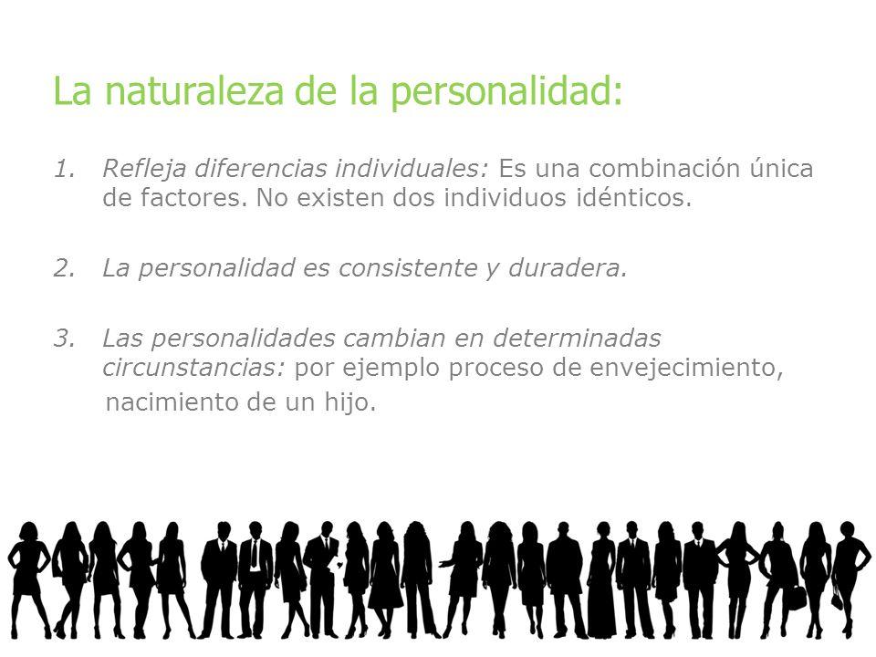 La naturaleza de la personalidad: 1.Refleja diferencias individuales: Es una combinación única de factores. No existen dos individuos idénticos. 2.La