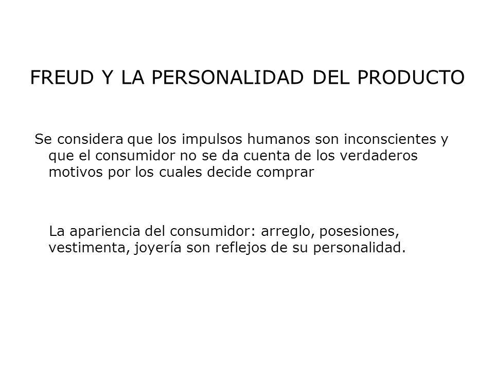 FREUD Y LA PERSONALIDAD DEL PRODUCTO Se considera que los impulsos humanos son inconscientes y que el consumidor no se da cuenta de los verdaderos mot