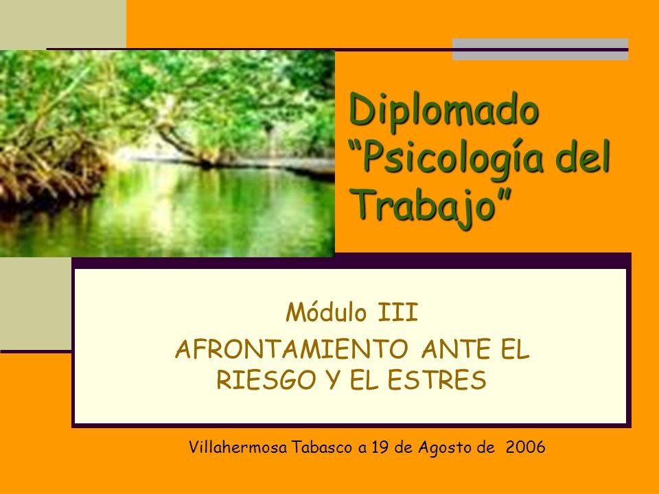 Diplomado Psicología del Trabajo Módulo III AFRONTAMIENTO ANTE EL RIESGO Y EL ESTRES Villahermosa Tabasco a 19 de Agosto de 2006