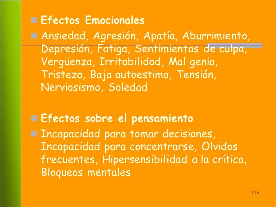 115 Efectos del estrés en las personas En la vida personal: se manifiesta con conductas tales como irritación, cansancio, depresión, insomnio, mal hum