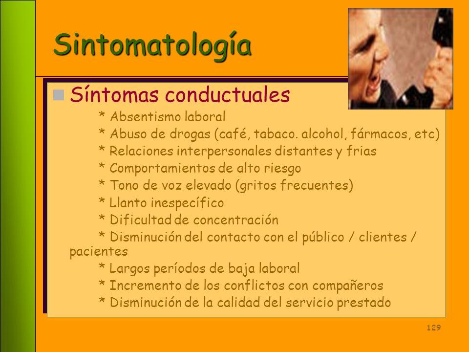 128 Sintomatología Síntomas emocionales * Irritabilidad * Ansiedad generalizada y focalizada en el trabajo * Depresión * Frustración * Aburrimiento *
