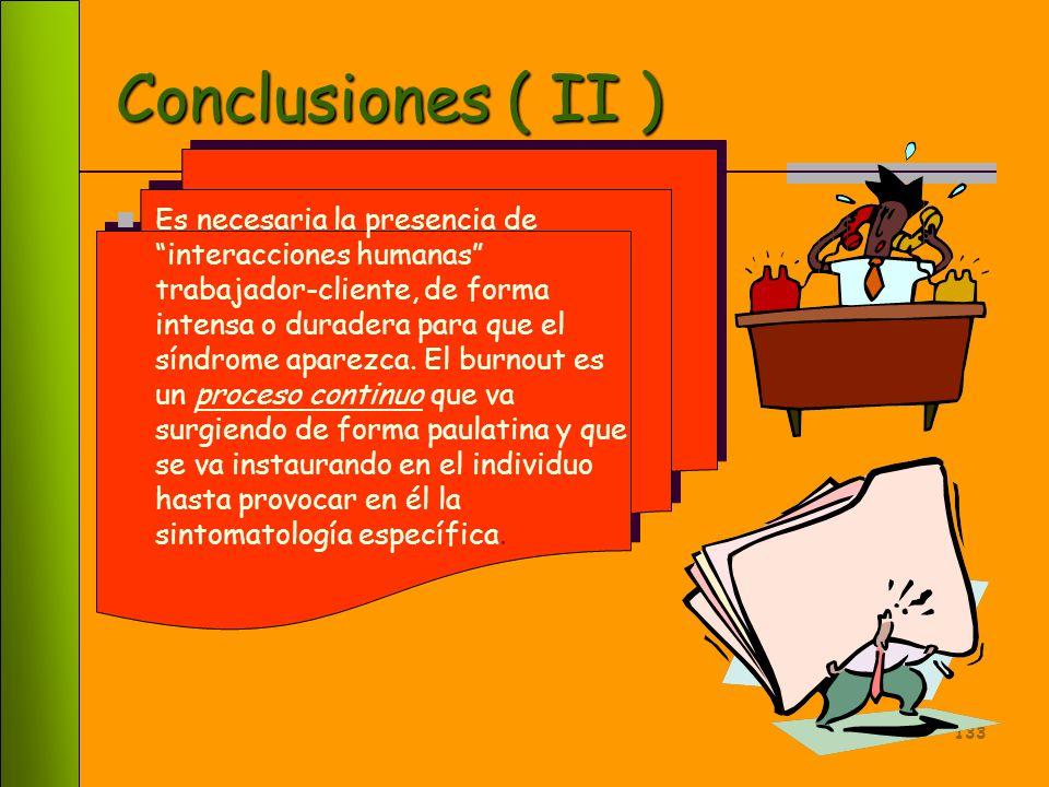 132 Conclusiones ( I ) El burnout es consecuencia de eventos estresantes que disponen al individuo a padecerlo. Estos eventos son de carácter laboral,