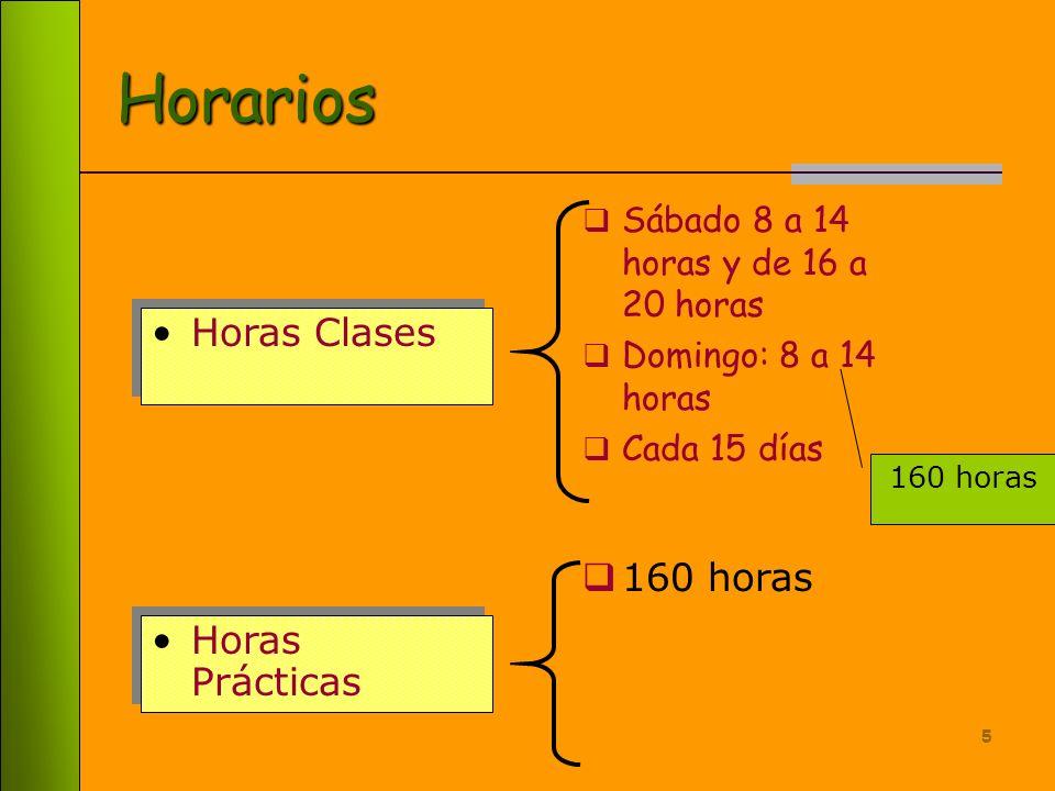 5 Horarios Sábado 8 a 14 horas y de 16 a 20 horas Domingo: 8 a 14 horas Cada 15 días Horas Clases Horas Prácticas 160 horas