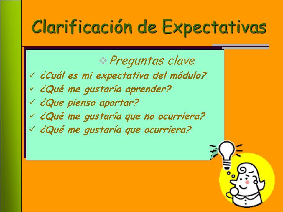 6 Clarificación de Expectativas Preguntas clave ¿Cuál es mi expectativa del módulo.