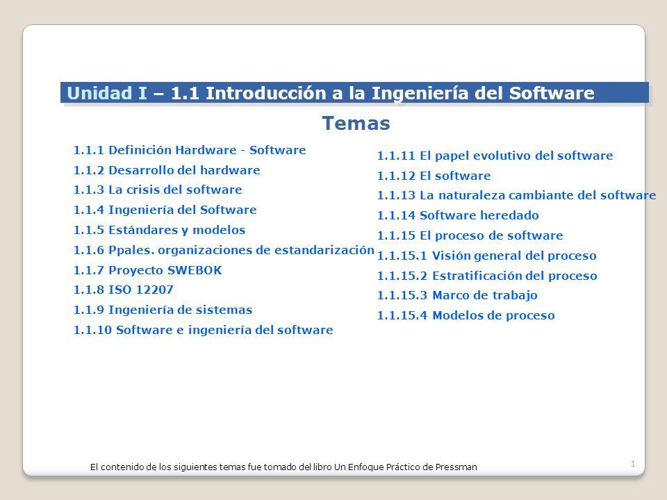 1 Temas Unidad I – 1.1 Introducción a la Ingeniería del Software 1.1.1 Definición Hardware - Software 1.1.2 Desarrollo del hardware 1.1.3 La crisis del software 1.1.4 Ingeniería del Software 1.1.5 Estándares y modelos 1.1.6 Ppales.