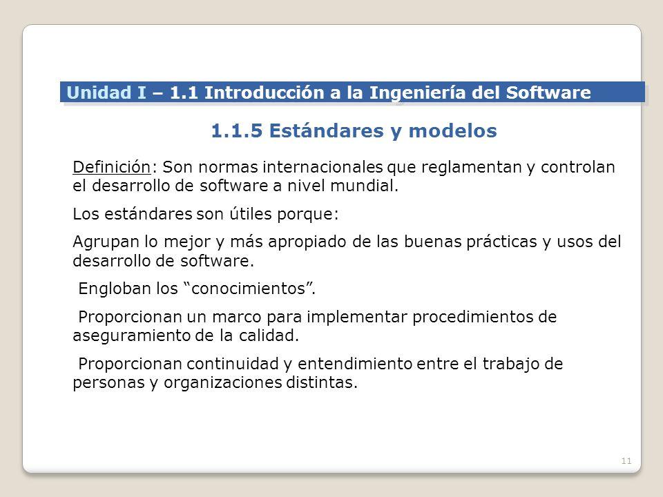 11 Definición: Son normas internacionales que reglamentan y controlan el desarrollo de software a nivel mundial.