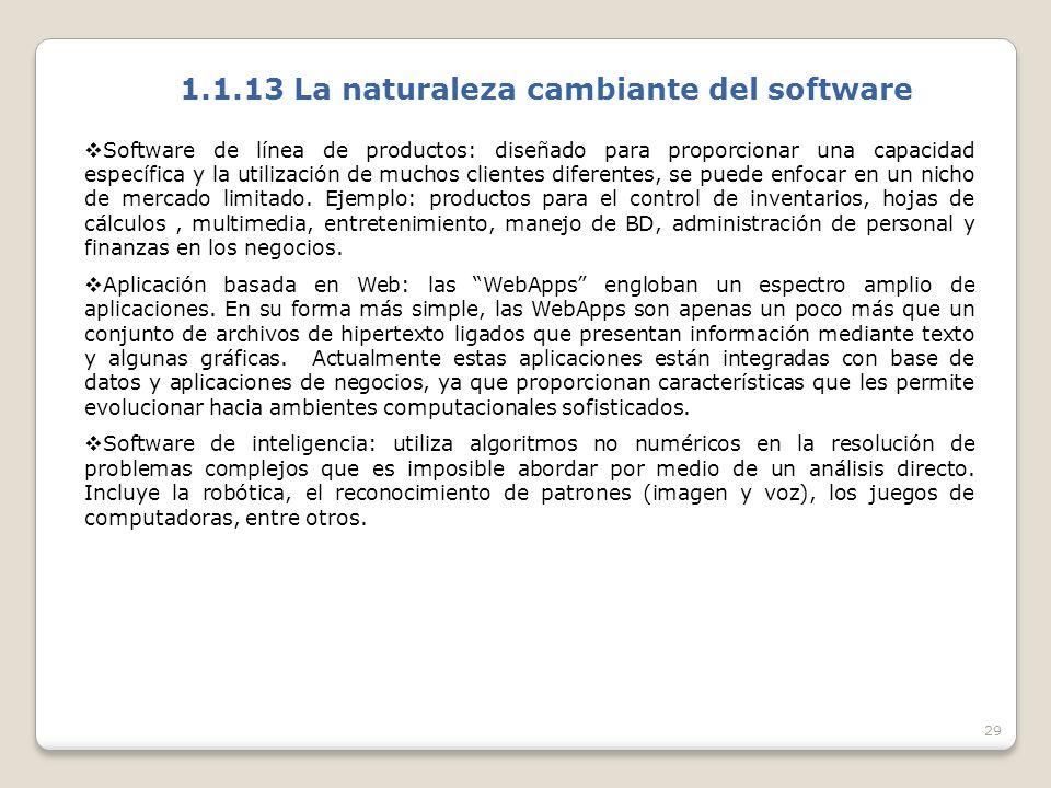 29 1.1.13 La naturaleza cambiante del software Software de línea de productos: diseñado para proporcionar una capacidad específica y la utilización de muchos clientes diferentes, se puede enfocar en un nicho de mercado limitado.
