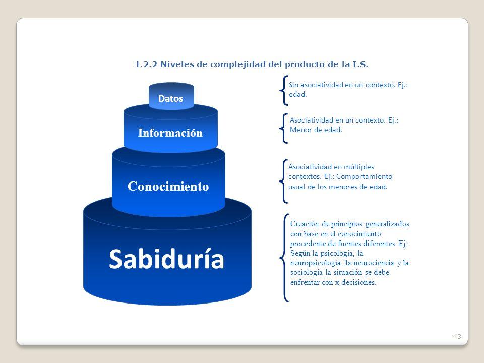 43 1.2.2 Niveles de complejidad del producto de la I.S.