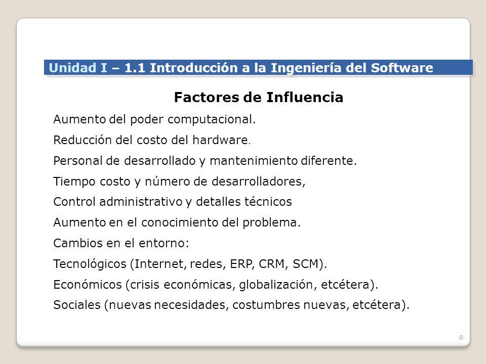 8 Factores de Influencia Aumento del poder computacional.