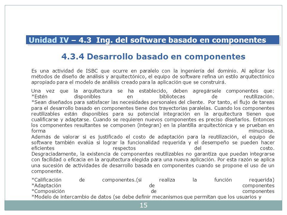 15 Es una actividad de ISBC que ocurre en paralelo con la ingeniería del dominio. Al aplicar los métodos de diseño de análisis y arquitectónico, el eq