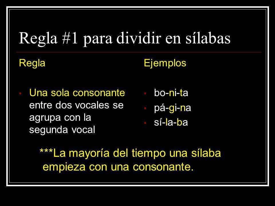 Regla #1 para dividir en sílabas Regla Una sola consonante entre dos vocales se agrupa con la segunda vocal Ejemplos bo-ni-ta pá-gi-na sí-la-ba ***La mayoría del tiempo una sílaba empieza con una consonante.