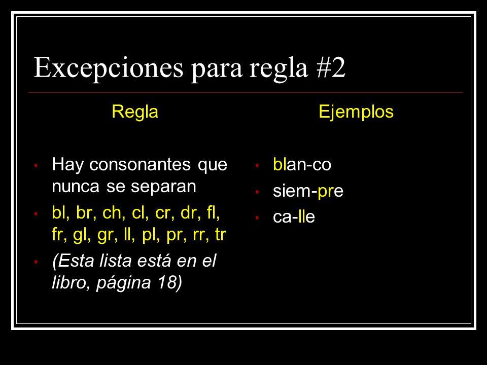 Excepciones para regla #2 Regla Hay consonantes que nunca se separan bl, br, ch, cl, cr, dr, fl, fr, gl, gr, ll, pl, pr, rr, tr (Esta lista está en el libro, página 18) Ejemplos blan-co siem-pre ca-lle