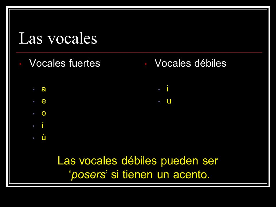 Reglas para las vocales Vocales fuertes y Posers separan dos vocales fuertes o una fuerte y un poser i-de-as dí-a re-a-lis-ta Vocales débiles vienen juntos dos vocales débiles o una débil con una fuerte jue-gos siem-pre es-pe-cial