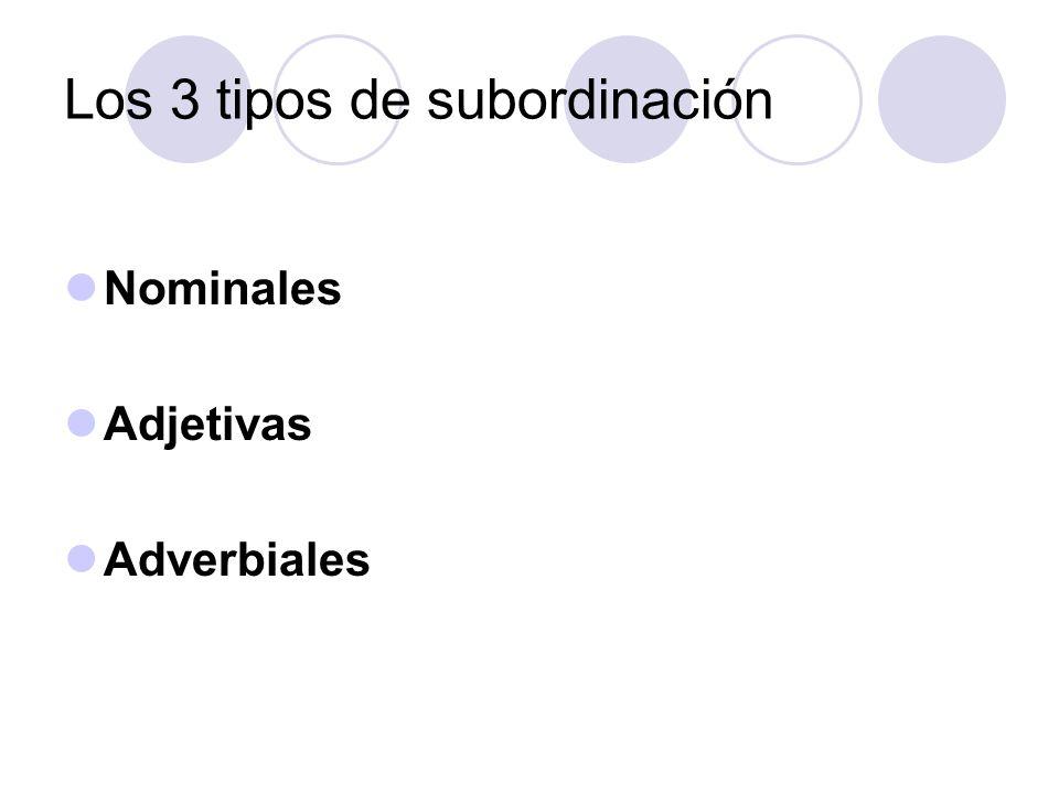 Los 3 tipos de subordinación Nominales Adjetivas Adverbiales