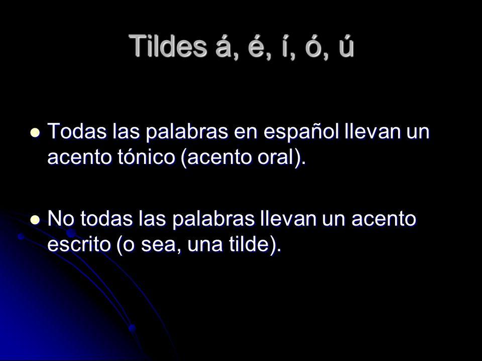 Tildes á, é, í, ó, ú Todas las palabras en español llevan un acento tónico (acento oral). Todas las palabras en español llevan un acento tónico (acent