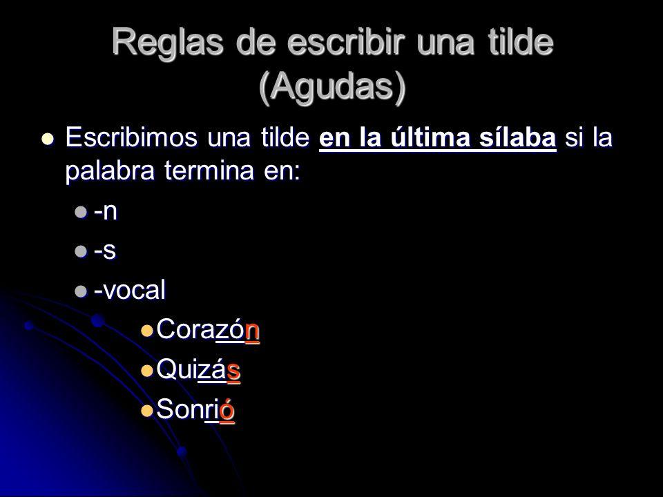 Reglas de escribir una tilde (Agudas) Las siguientes palabras no llevan acento escrito porque no acaban en -n, -s, -vocal.