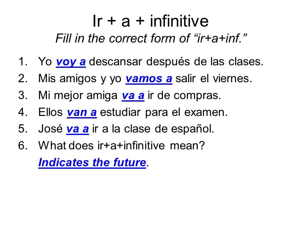 Ir + a + infinitive Fill in the correct form of ir+a+inf. 1.Yo voy a descansar después de las clases. 2.Mis amigos y yo vamos a salir el viernes. 3.Mi