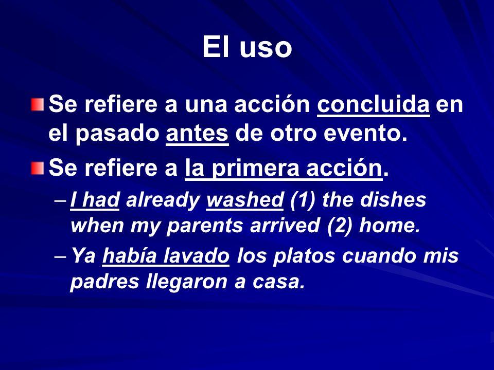 El uso Se refiere a una acción concluida en el pasado antes de otro evento. Se refiere a la primera acción. – –I had already washed (1) the dishes whe