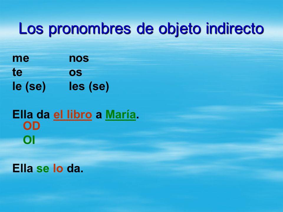 Los pronombres de objeto indirecto menos teos le (se)les (se) Ella da el libro a María. OD OI Ella se lo da.
