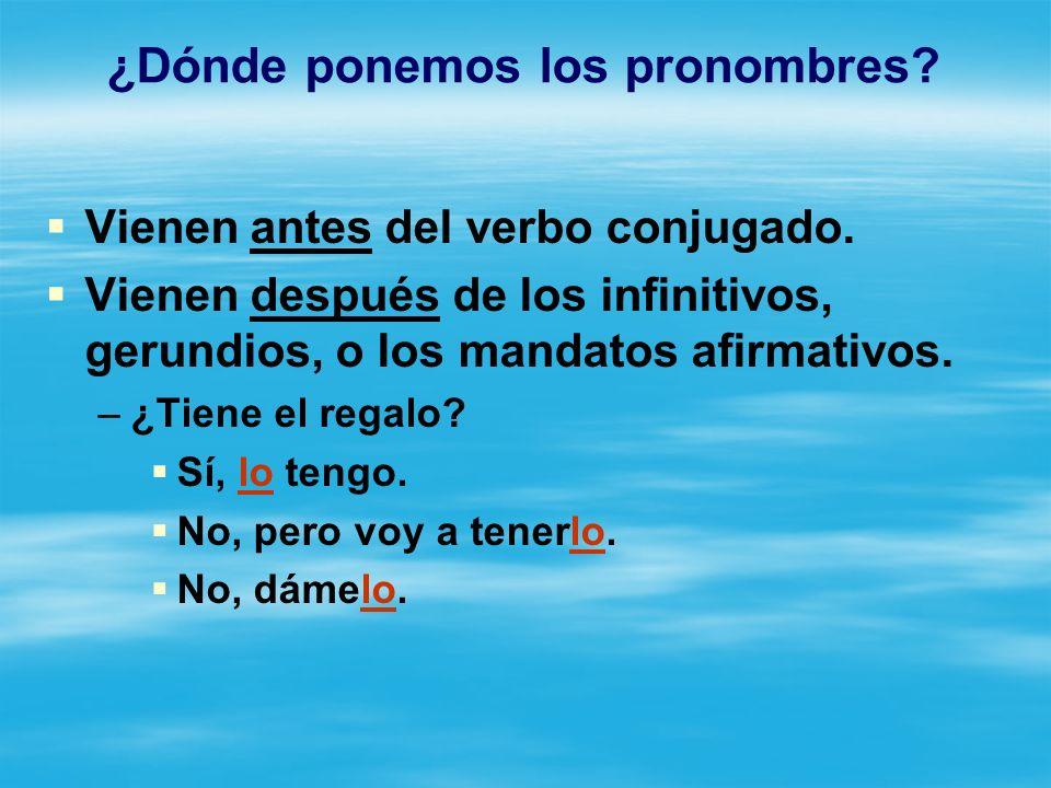 ¿Dónde ponemos los pronombres.Vienen antes del verbo conjugado.