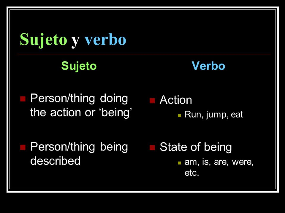 Sujeto y verbo Sujeto Person/thing doing the action or being Person/thing being described Verbo Action Run, jump, eat State of being am, is, are, were, etc.
