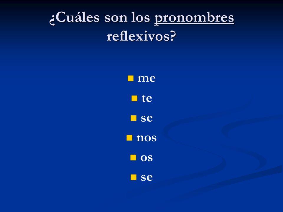 ¿Cuáles son los pronombres reflexivos? me te se nos os se