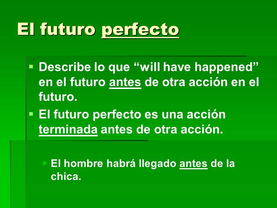 El futuro perfecto Describe lo que will have happened en el futuro antes de otra acción en el futuro. El futuro perfecto es una acción terminada antes