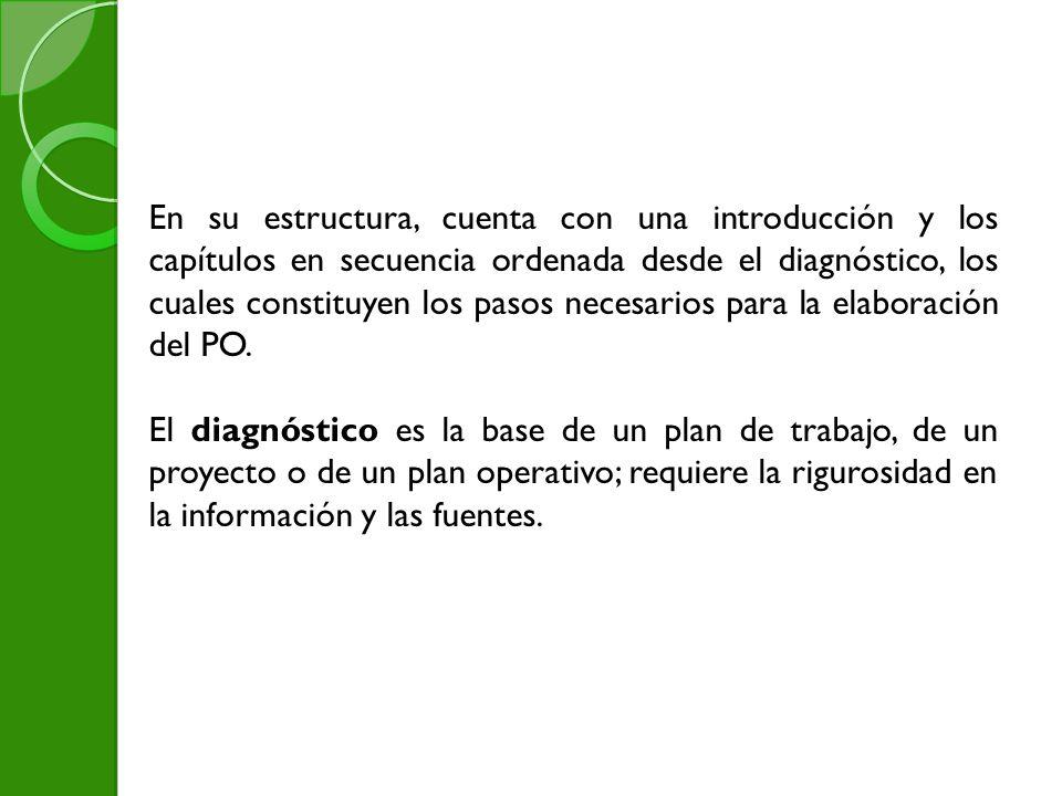 En su estructura, cuenta con una introducción y los capítulos en secuencia ordenada desde el diagnóstico, los cuales constituyen los pasos necesarios para la elaboración del PO.
