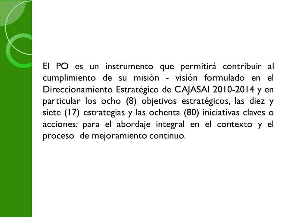El PO es un instrumento que permitirá contribuir al cumplimiento de su misión - visión formulado en el Direccionamiento Estratégico de CAJASAI 2010-2014 y en particular los ocho (8) objetivos estratégicos, las diez y siete (17) estrategias y las ochenta (80) iniciativas claves o acciones; para el abordaje integral en el contexto y el proceso de mejoramiento continuo.