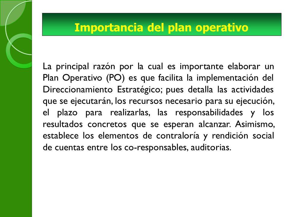 Importancia del plan operativo La principal razón por la cual es importante elaborar un Plan Operativo (PO) es que facilita la implementación del Direccionamiento Estratégico; pues detalla las actividades que se ejecutarán, los recursos necesario para su ejecución, el plazo para realizarlas, las responsabilidades y los resultados concretos que se esperan alcanzar.