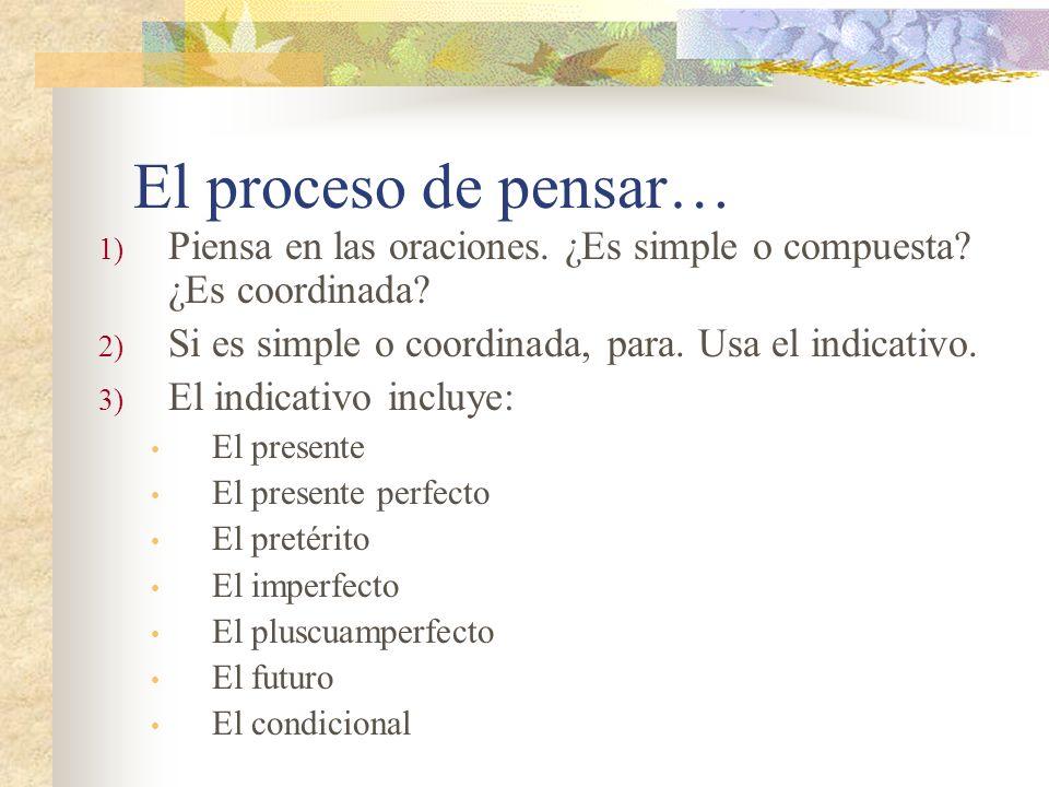 El proceso de pensar… 1) Piensa en las oraciones.¿Es simple o compuesta.