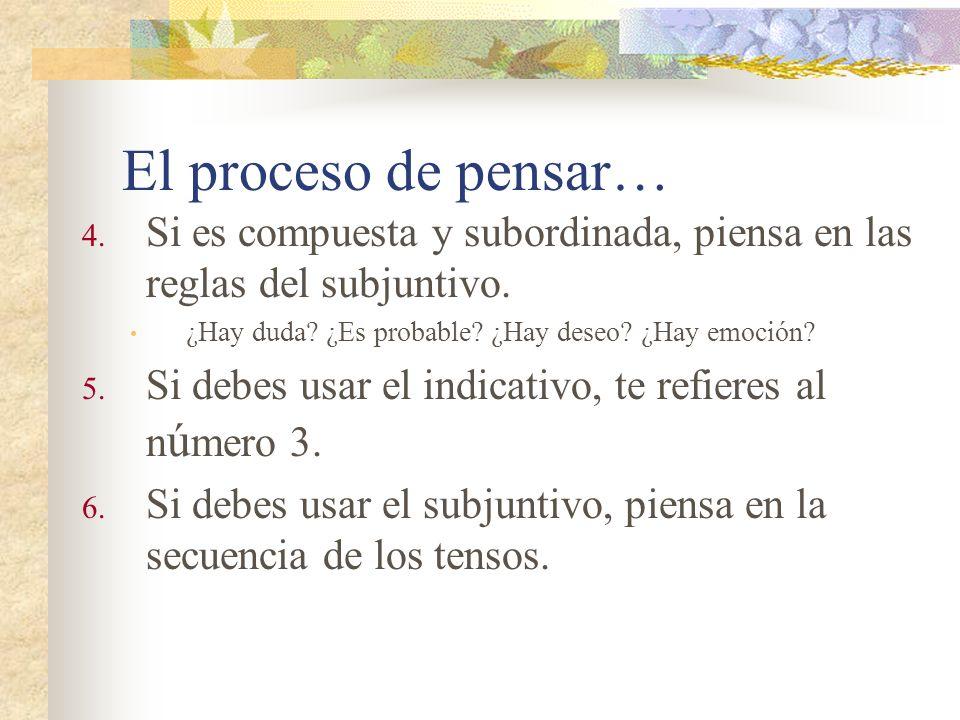 El proceso de pensar… 4.Si es compuesta y subordinada, piensa en las reglas del subjuntivo.