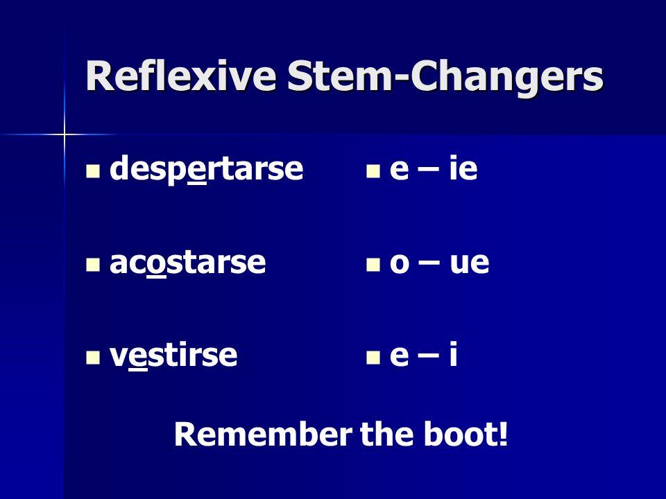 Reflexive Stem-Changers despertarse acostarse vestirse e – ie o – ue e – i Remember the boot!