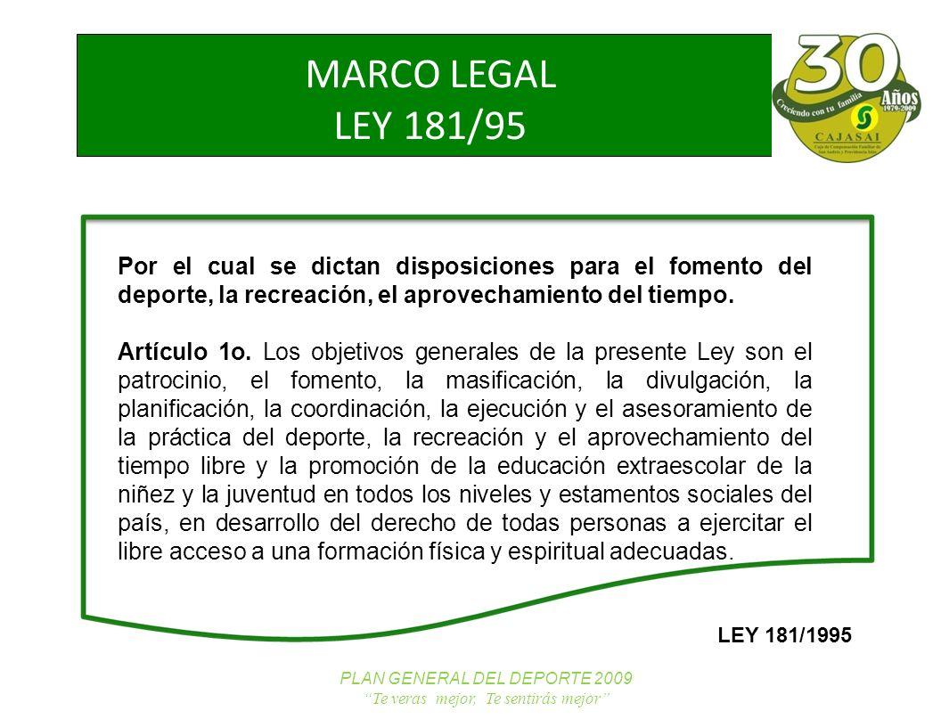 NUEVOS TRABAJADORES PLAN GENERAL DEL DEPORTE 2009 Te veras mejor, Te sentirás mejor MARCO LEGAL LEY 181/95 Por el cual se dictan disposiciones para el fomento del deporte, la recreación, el aprovechamiento del tiempo.