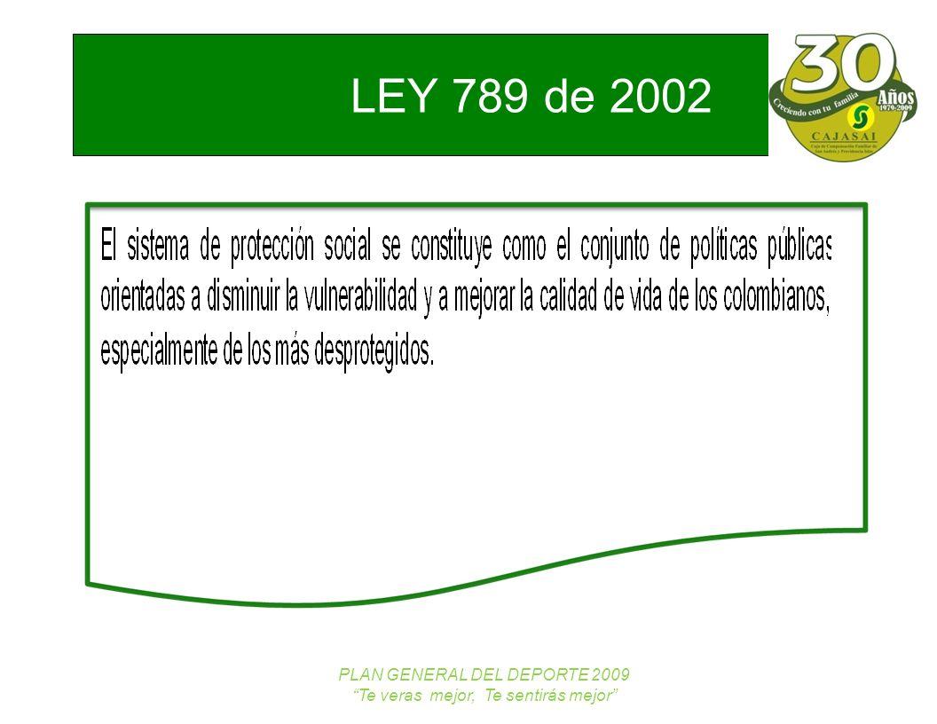 LEY 789 de 2002 NUEVOS TRABAJADORES PLAN GENERAL DEL DEPORTE 2009 Te veras mejor, Te sentirás mejor MARCO LEGAL LEY 181/95