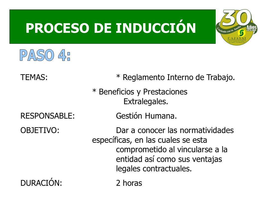 PROCESO DE INDUCCIÓN TEMAS:* Reglamento Interno de Trabajo.