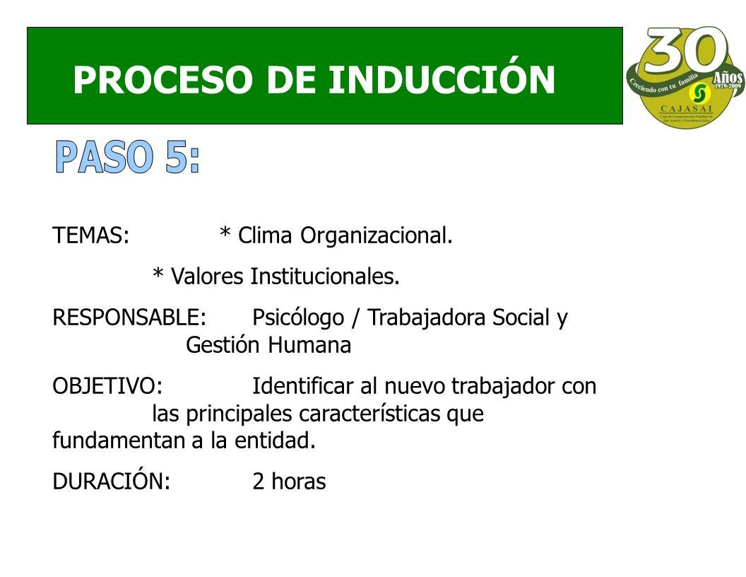 PROCESO DE INDUCCIÓN TEMAS:* Clima Organizacional.