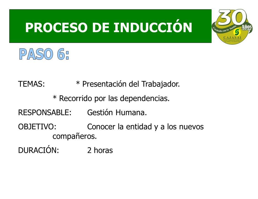 PROCESO DE INDUCCIÓN TEMAS:* Presentación del Trabajador.