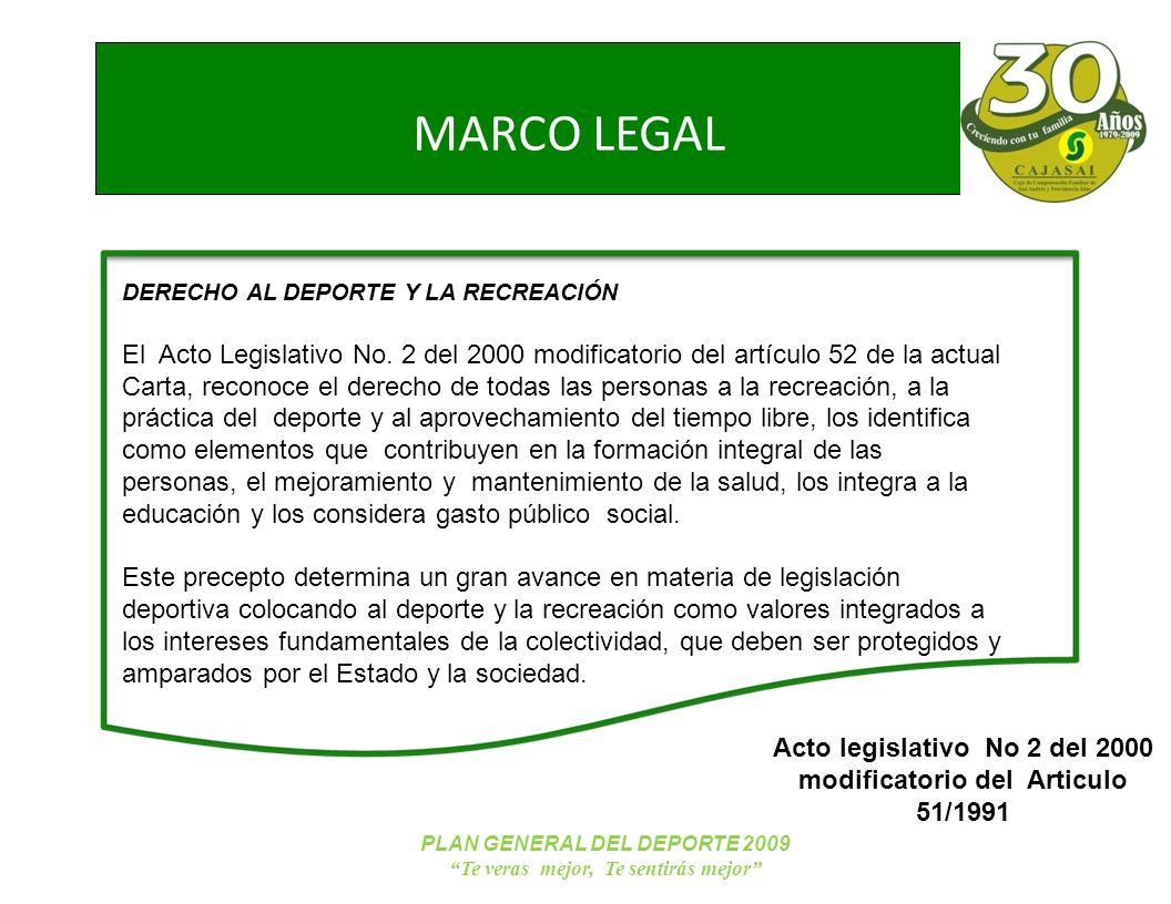 NUEVOS TRABAJADORES PLAN GENERAL DEL DEPORTE 2009 Te veras mejor, Te sentirás mejor MARCO LEGAL DERECHO AL DEPORTE Y LA RECREACIÓN El Acto Legislativo No.